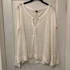 Free People White Tie Neck Top